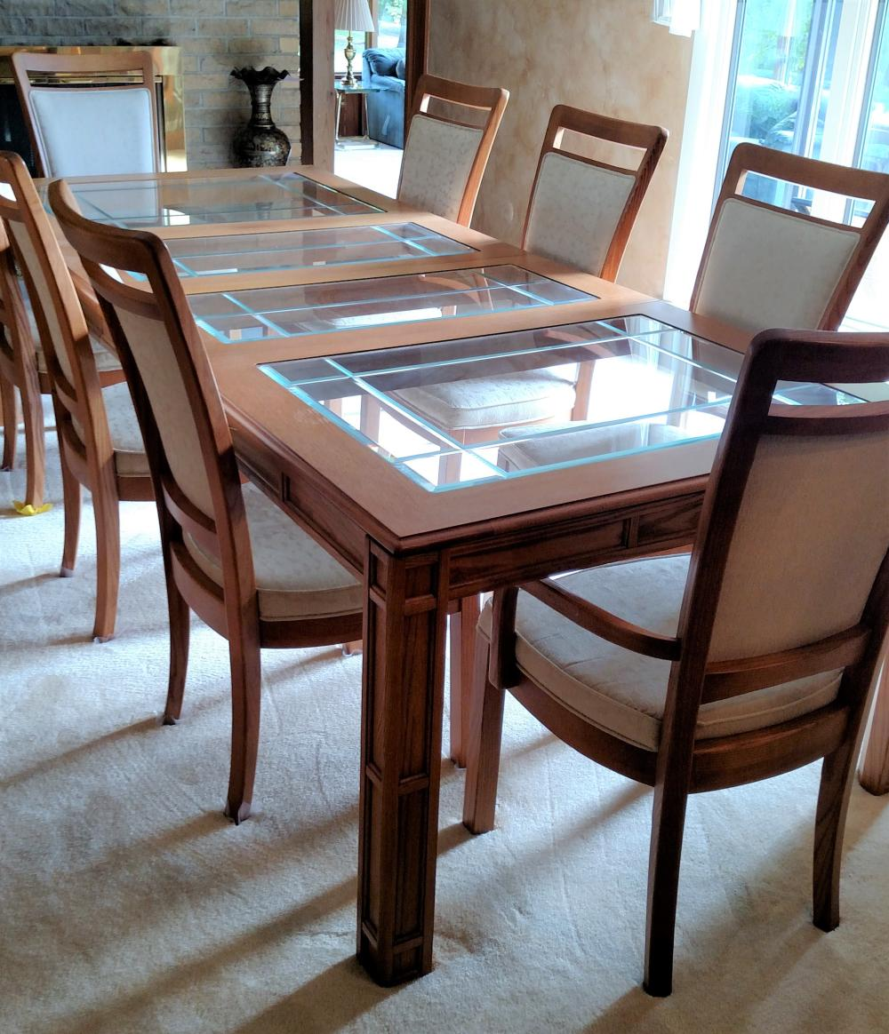 """glass inlaid dining room table w/ 8 chairs 106"""" long, 44"""" wide, 29"""" tall"""