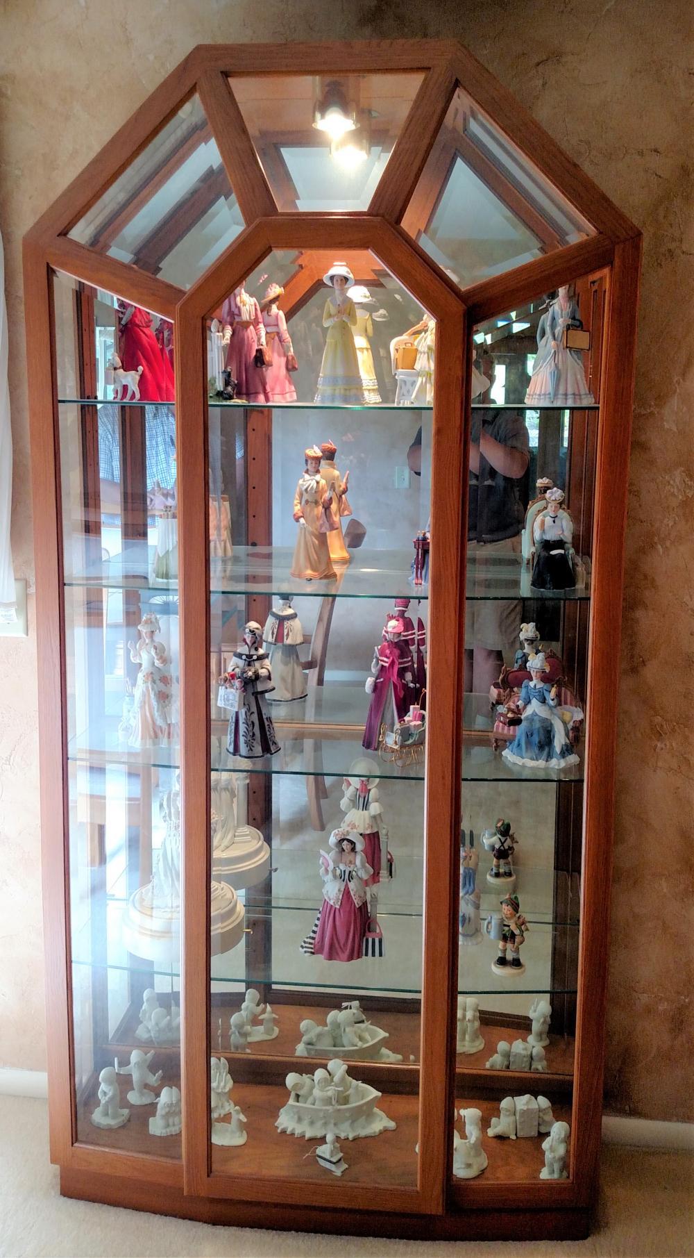 "lighted glass door curio w/ glass shelves (curio only) 81"" tall, 42"" wide, 12"" deep"