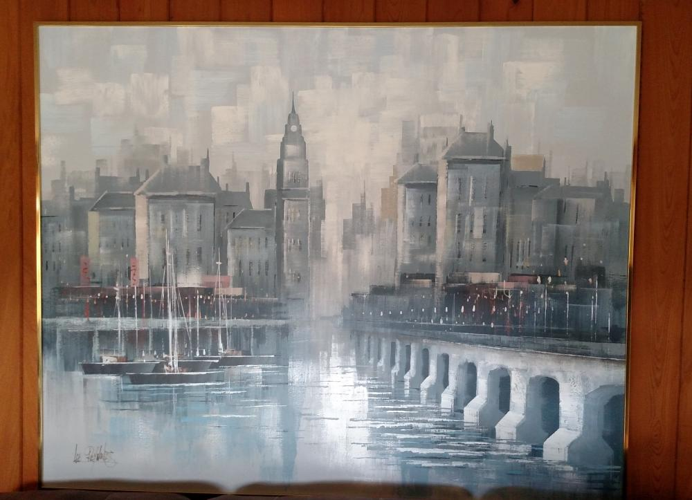 Lee Reynolds large city Painting 5 ft wide, 4 ft. tall