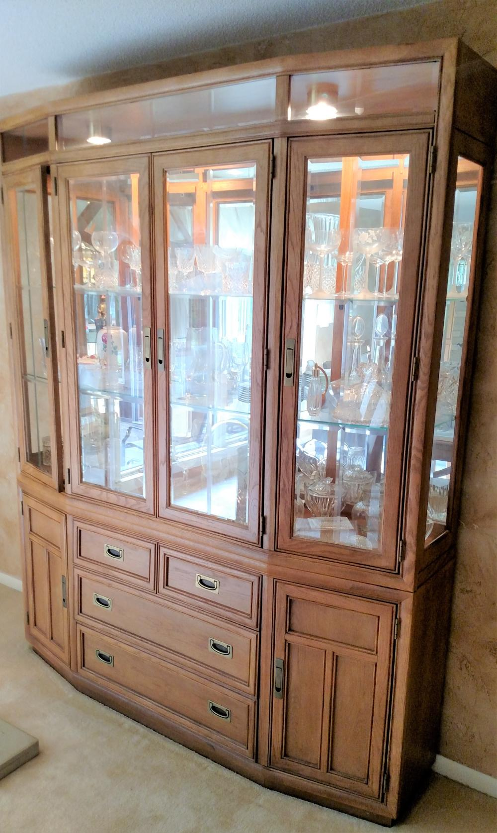 """Stanley 2 pc. lighted hutch (hutch only) 81"""" tall, 68"""" wide, 14"""" deep"""