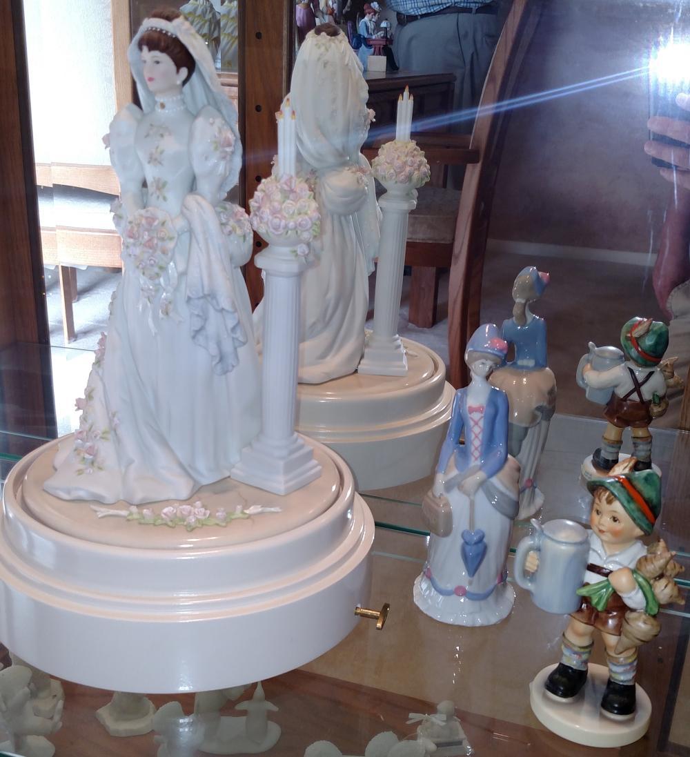 "Bride music box, Avon figurine, Goebel ""For Father"" figurine"