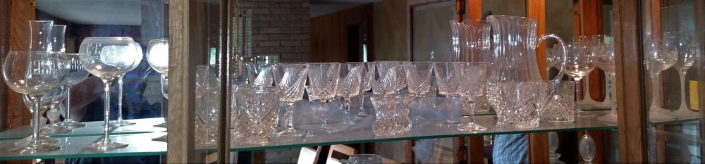 Top shelf glassware Etched glass, crystal, toothpick holders, stemware