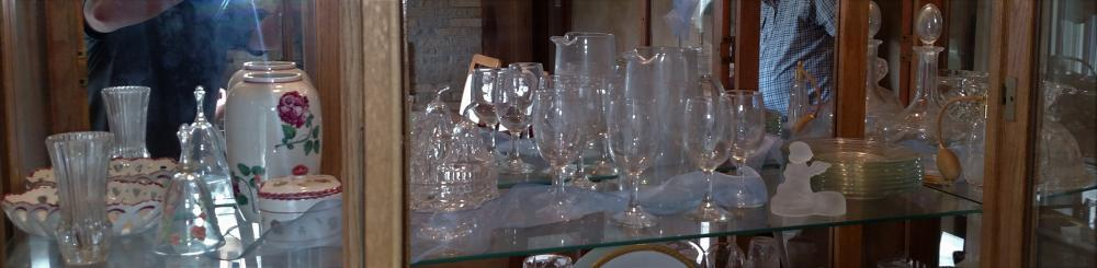 Middle Shelf glassware, covered dishes, bell, perfume bottle, water set