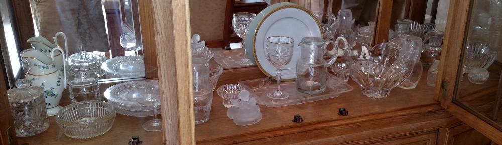 Bottom shelf glassware bowls, pitcher, misc. glassware