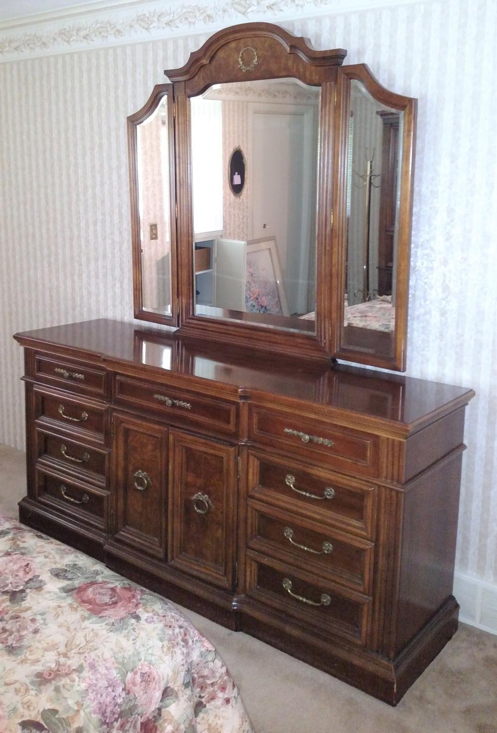 "dresser w/ winged mirror 72"" long, 34"" high, 19"" deep"