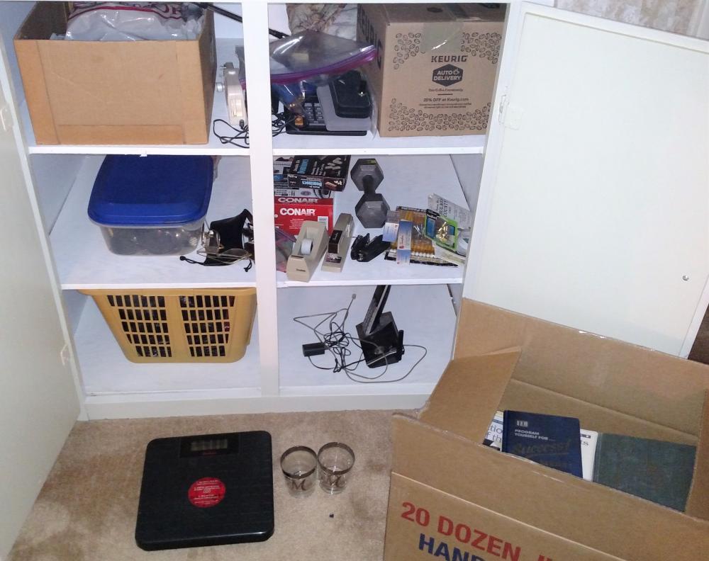 misc. closet items - staplers, scale, books, tape, hamper
