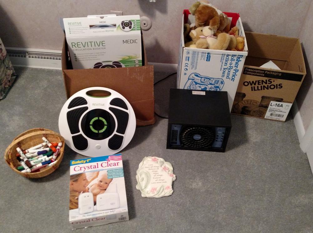 misc. lot - Revitive foot massager, Breeze air purifier, stuffed animals, baby monitor