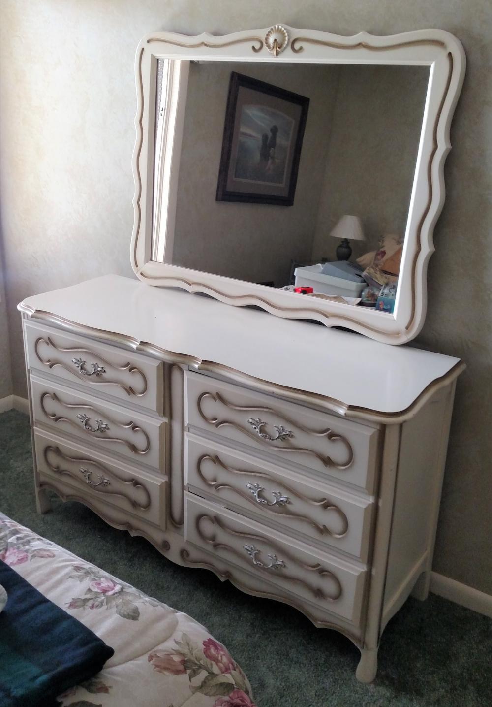 "white dresser w/ mirror 52 "" long, 31"" tall, 18 "" deep"