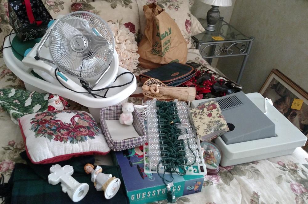misc. job lot - Logaberger basket, Fenton cat, little fan, baby bath, christmas lights,