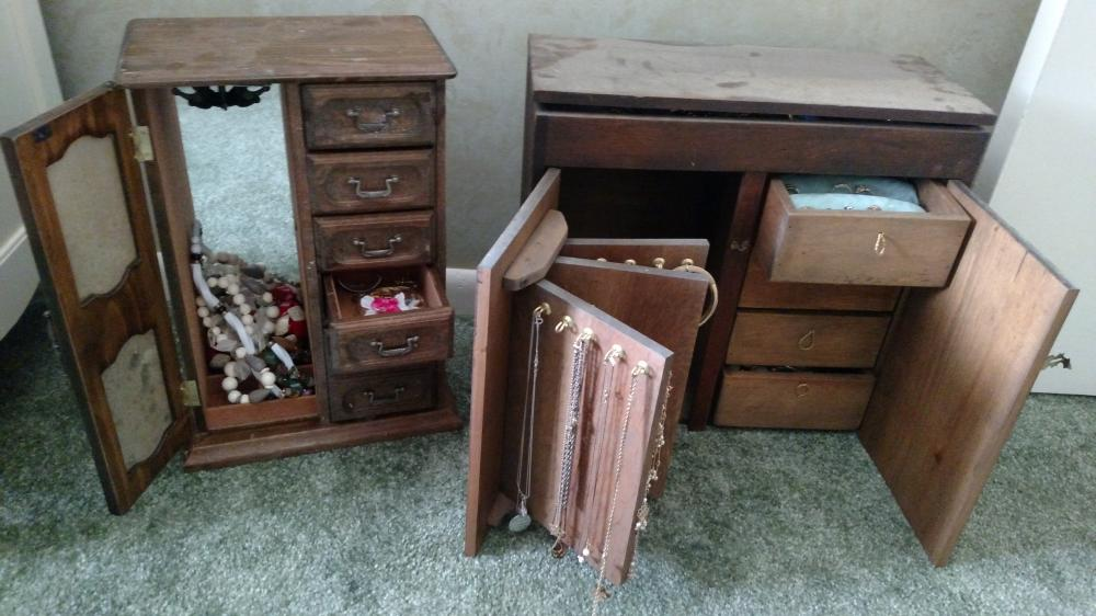 2 wooden boxes (one is musical) with assorted costume jewelry