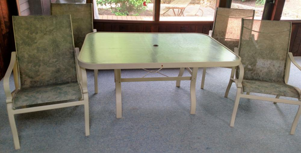 """glass top patio table w/ 4 chairs 60.5"""" long, 43"""" wide, 28"""" tall"""