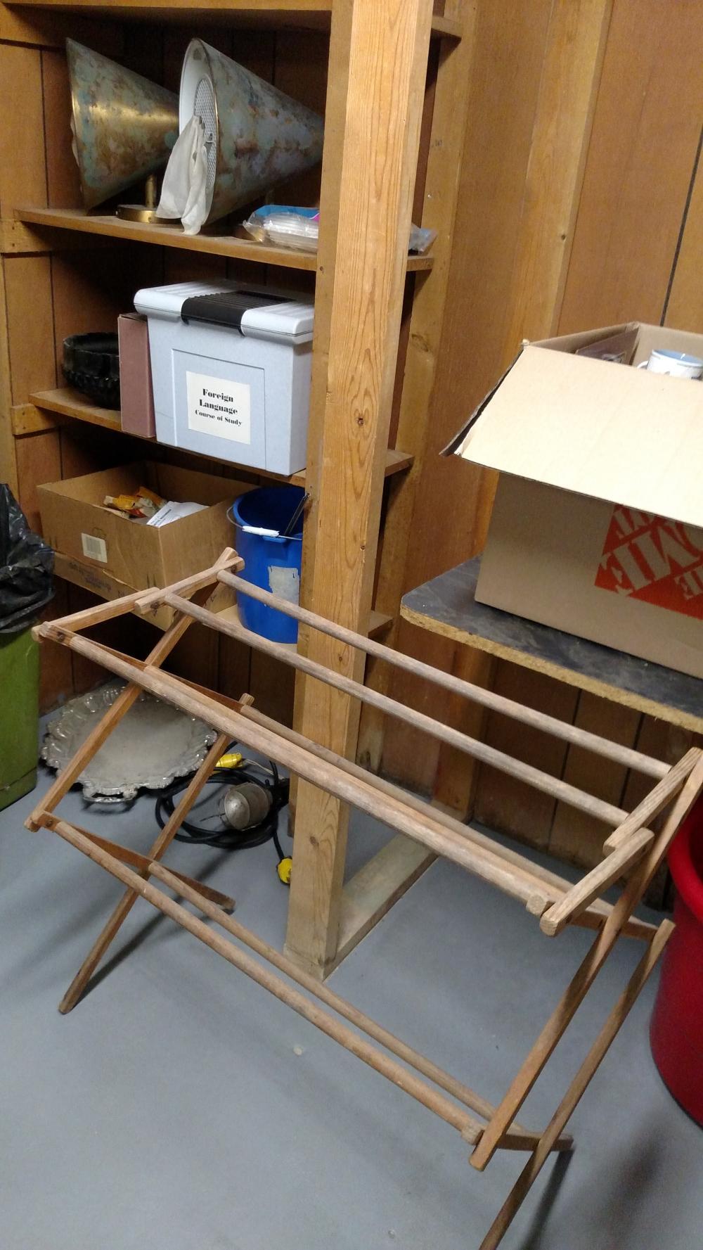 dryer rack, cone lights, misc. house wares