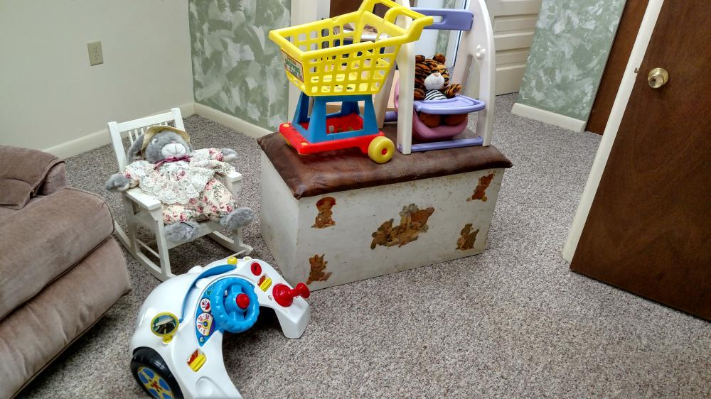 wood toy box (full of toys), youth rocker, plastic kid's toys