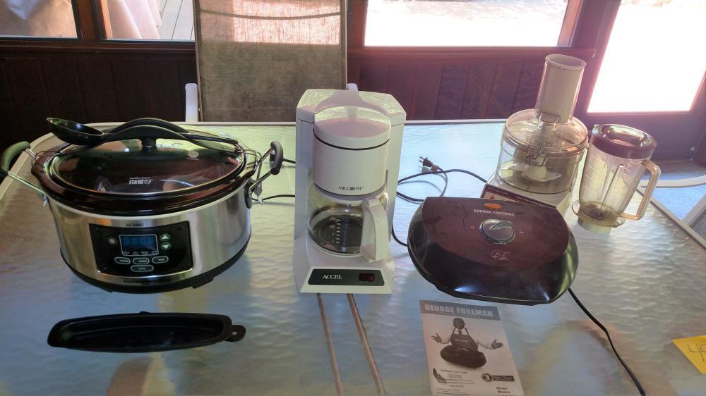 Hamilton Beach digital crock pot, Mr. Coffee coffeemaker, George Foreman grill, G.E. food processor/blender