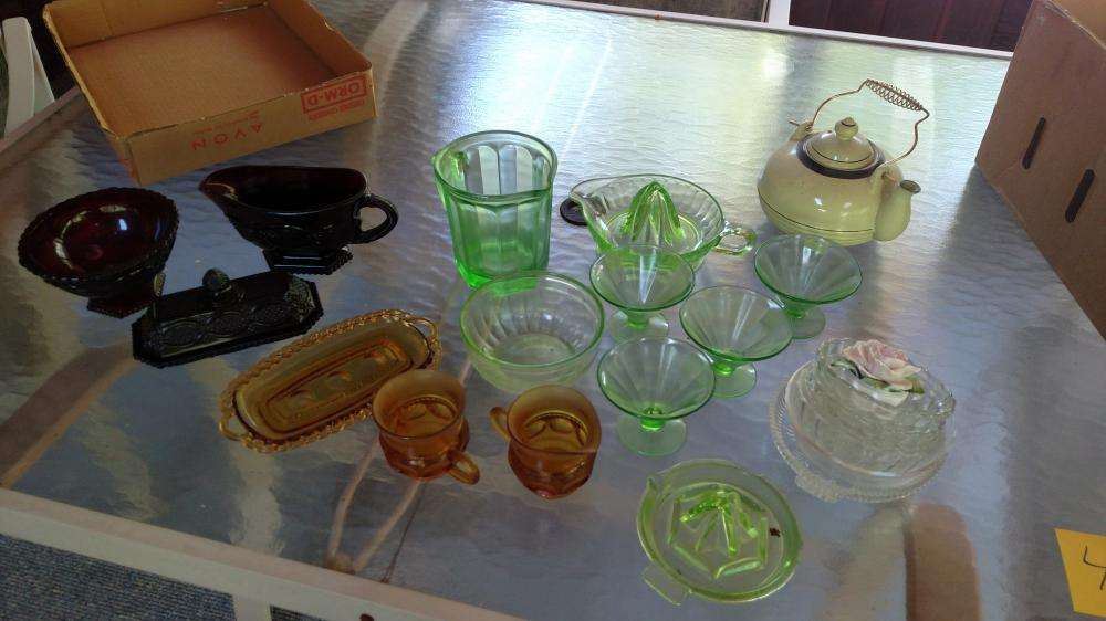 green depression glass, Cape cod butter dish, juicer, teapot, amber glass