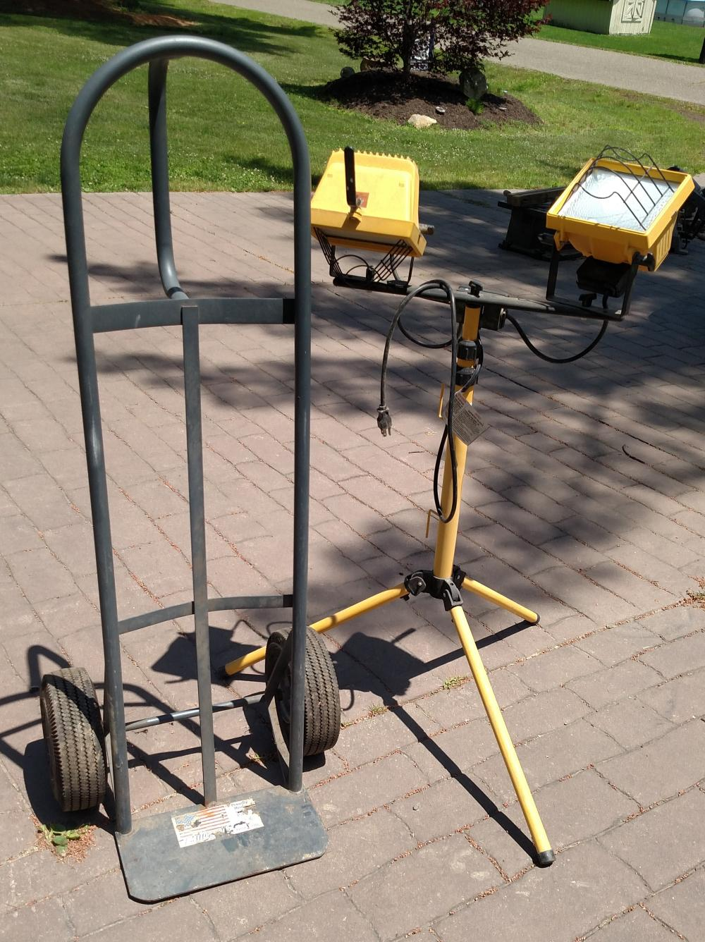 dolly cart and work light