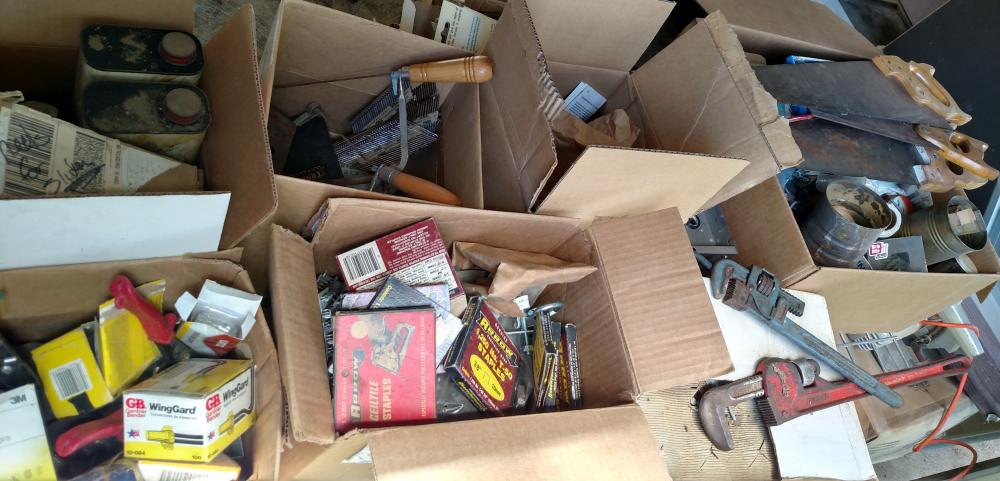 tool package - pipe wrenches, saws, wood planes, nails, staples, 2 trash cans w/ lids
