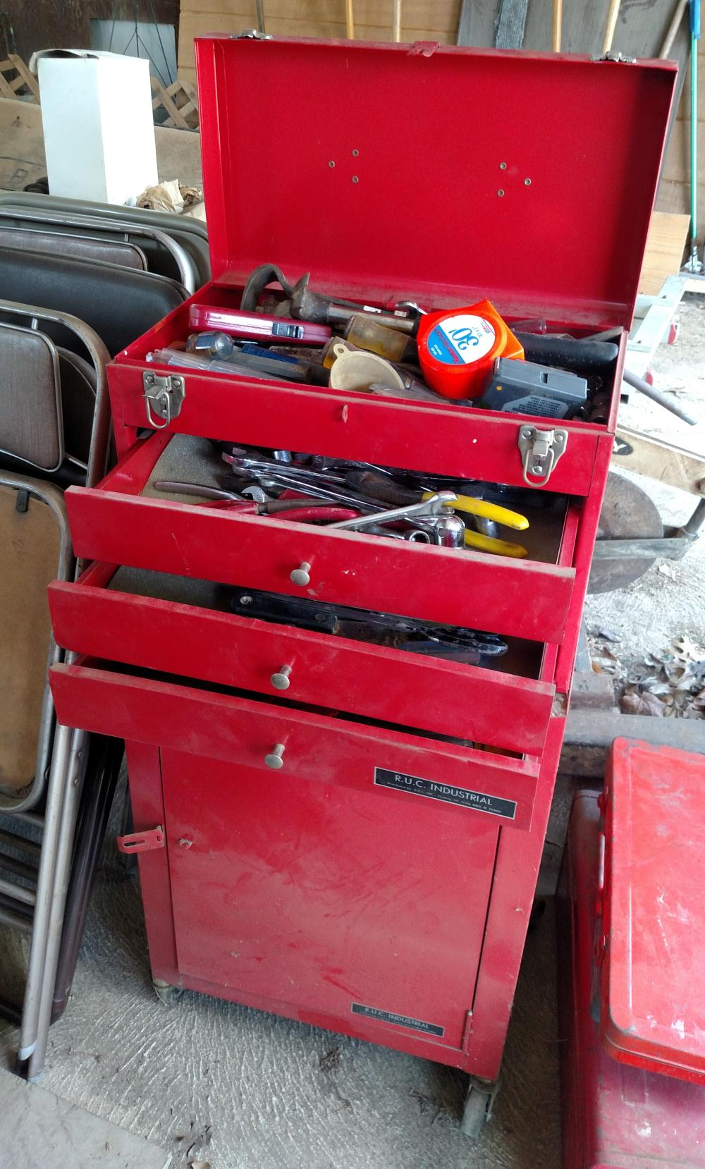 """red R.U.C. metal tool box w/ tools (hammers, chisels, wrenches, pliers, allen wrenches) 39"""" tall, 18"""" wide, 11"""" deep"""