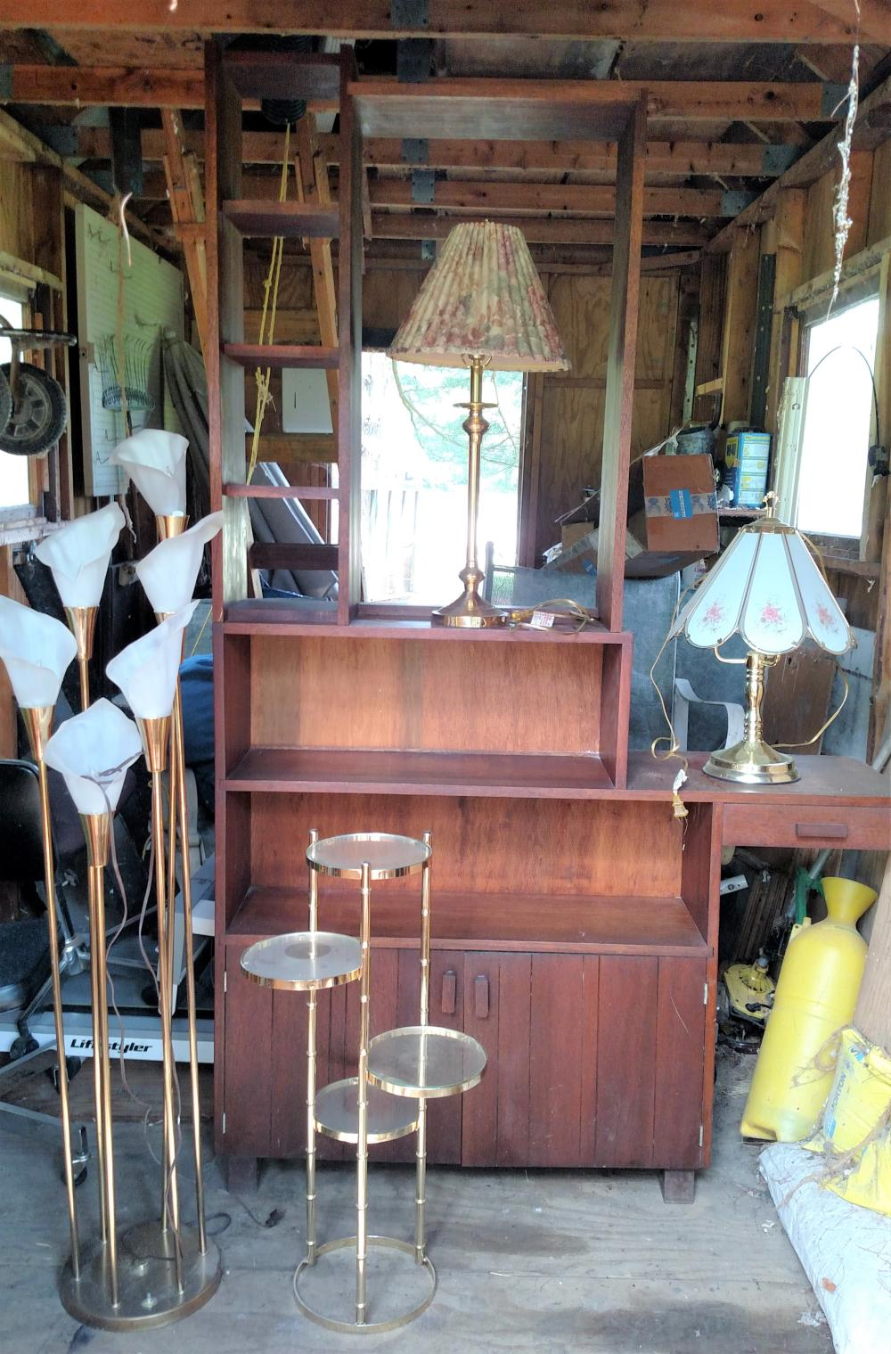 wood shelf room divider, misc. lamps, small glass stand