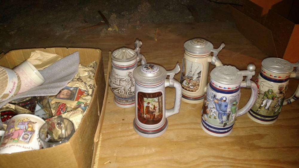 5 steins and misc. glass