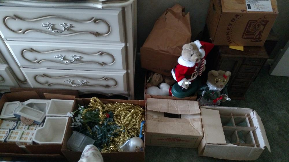 lot of assorted Christmas decorations, animated figures, glasses