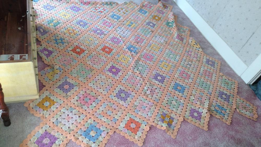 "handmade quilt - 80"" x 80"" nice condition"
