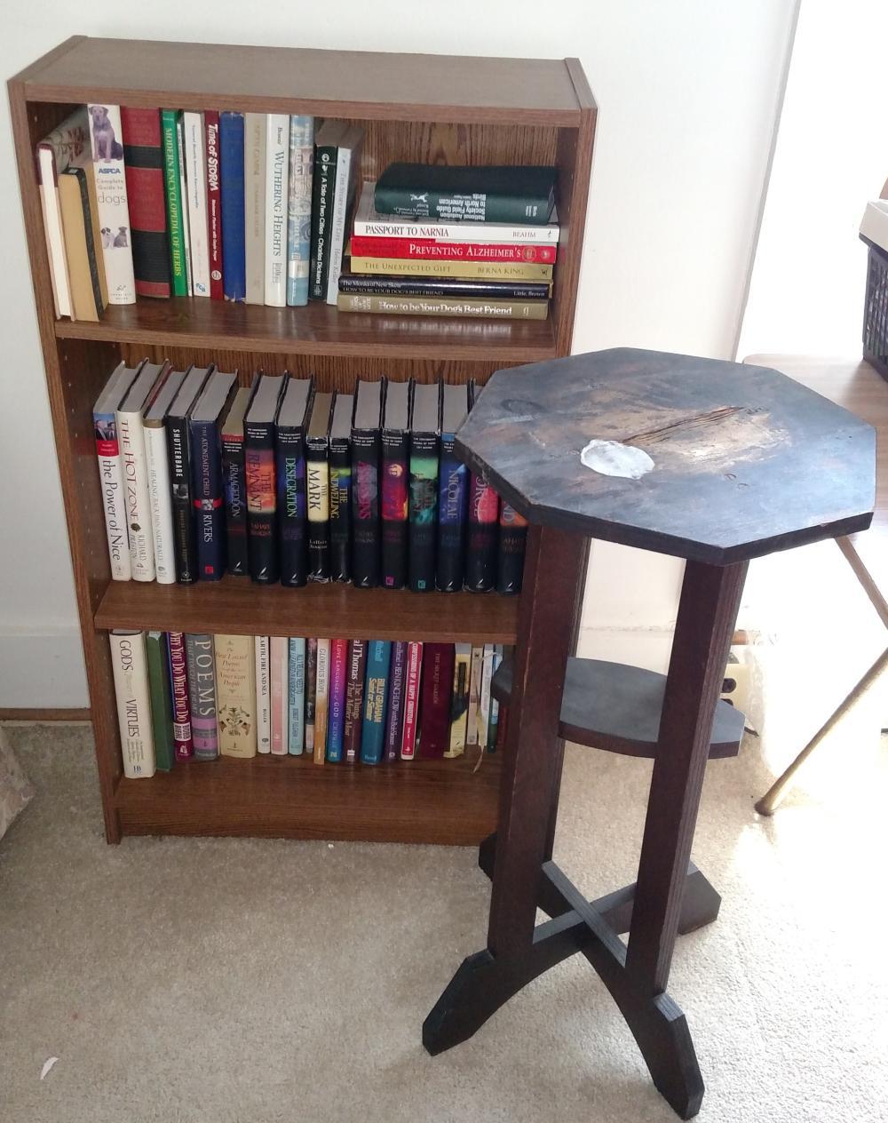 books, bookshelf, stand ( top is rough)
