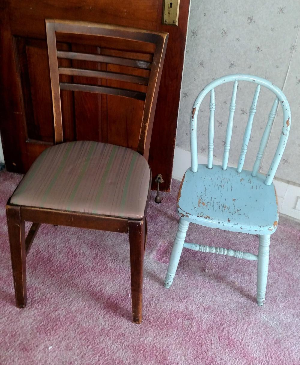 youth chair and wood chair