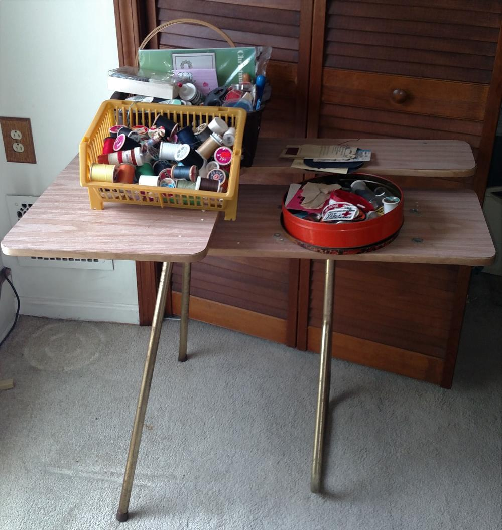 sewing stand with thread, ribbon, misc sewing