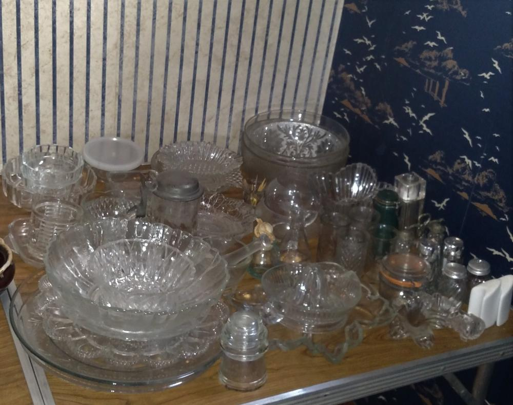 clear glass joblot- juicer, bowls, toothpick holder, salt and peppers, misc glass