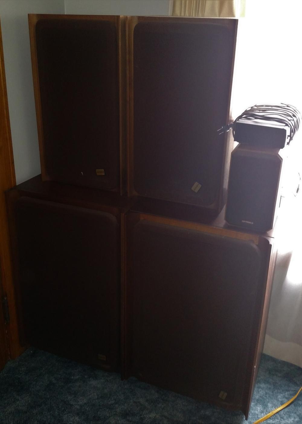 "4 gensen speakers, optimus integrated stereo amp, and 2 optimus speakers -- 31"" tall, 20"" wide, 16"" deep/ 25"" tall, 14"" wide, 12"" deep"
