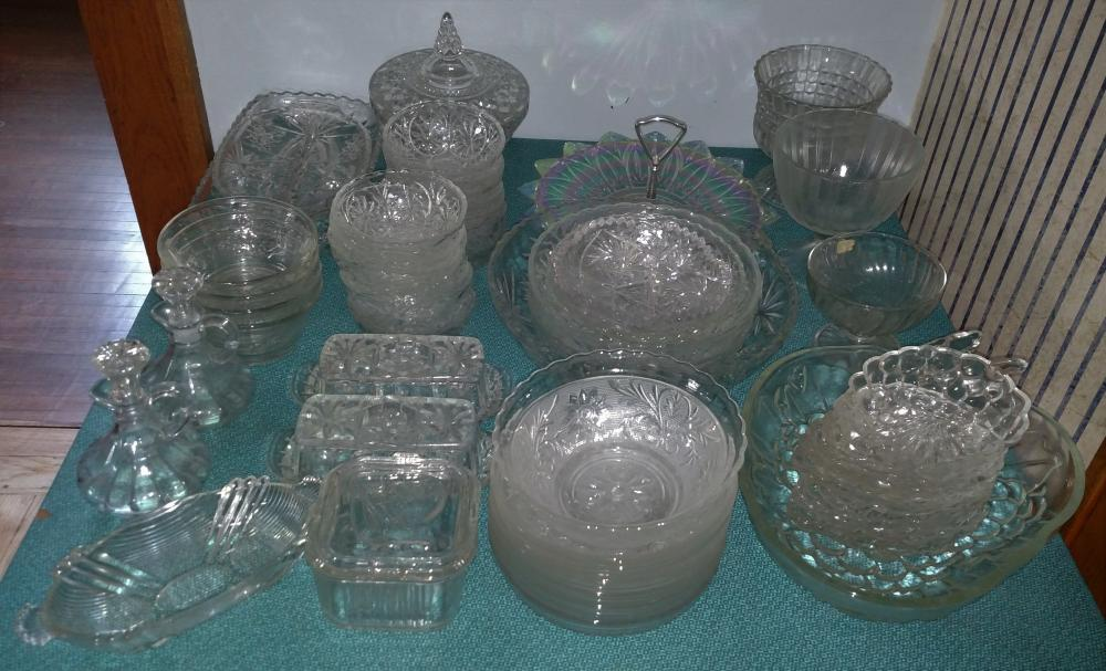 clear glass package-- bowls, butter dishes, cruets, candy dish, misc.