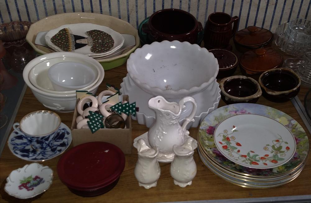 brown dishware, hand painted plates, cups and saucers, napking rings, misc dishes