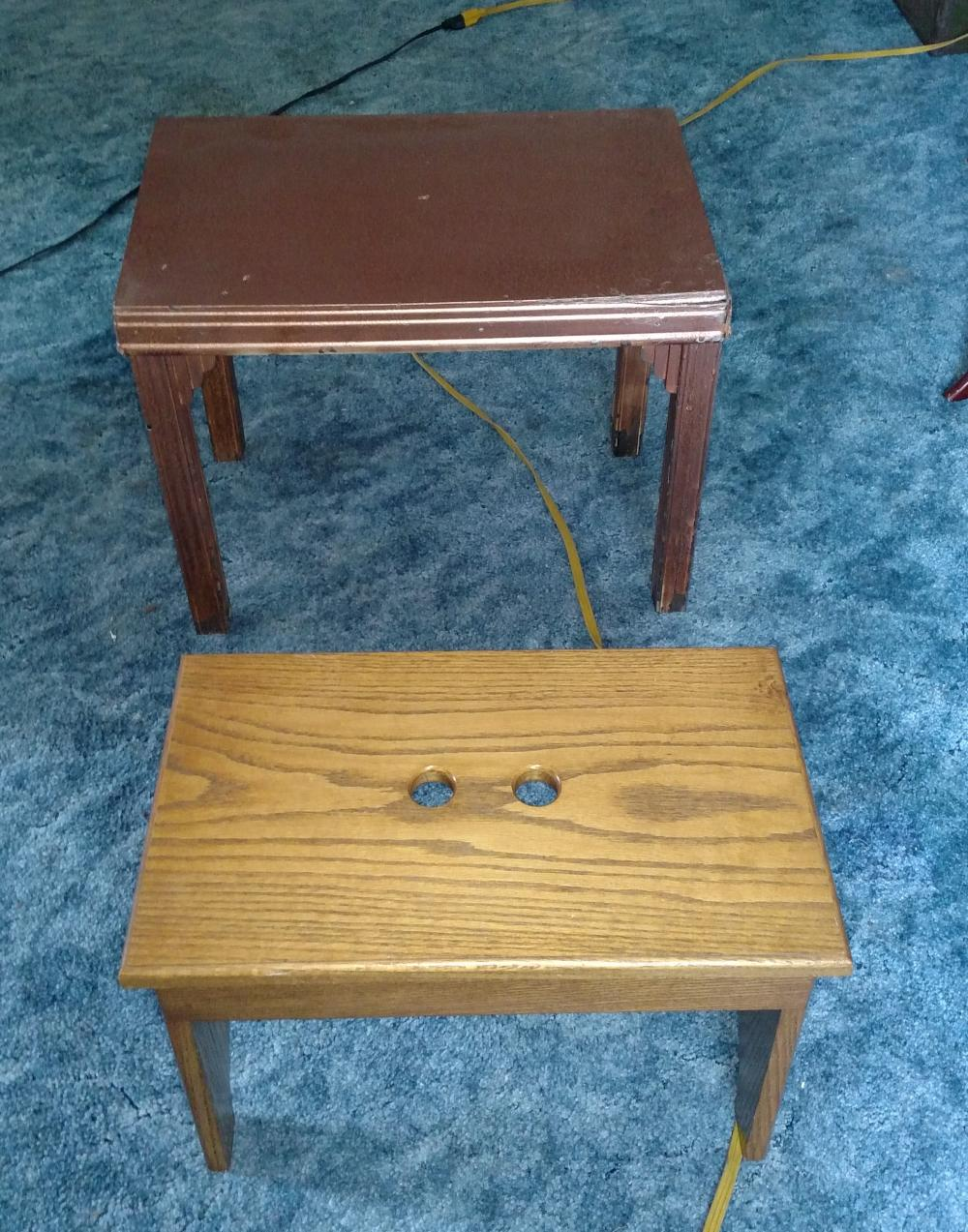 """stand and foot stool-- 18"""" tall, 22"""" wide"""