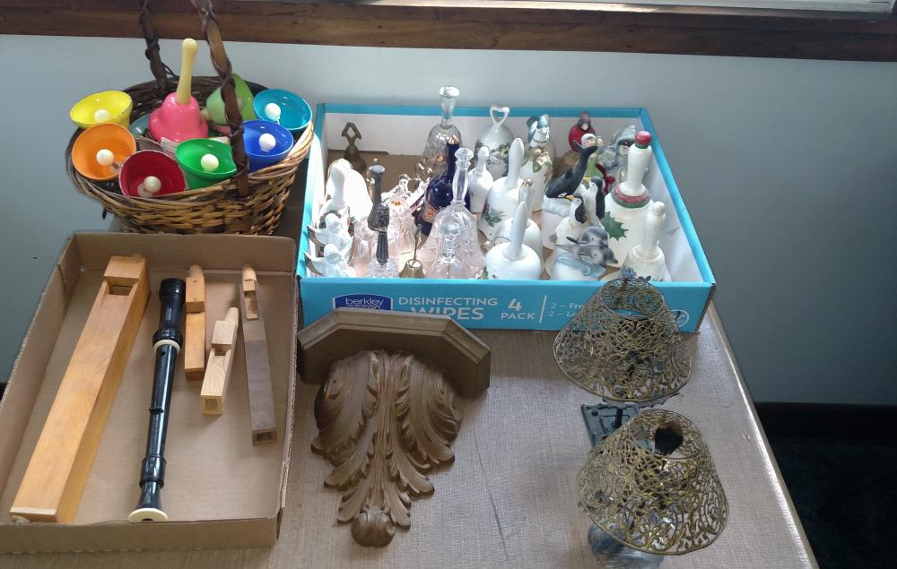 wood whistles, toy flute, bells, candle holders