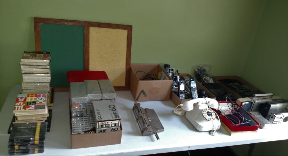 radios, cassette players, phones, cassette tapes, sound reels