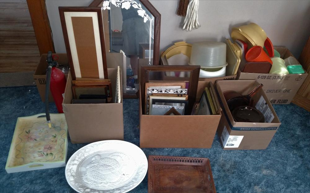 tupperware, pictures and frames, bakeware, misc joblot