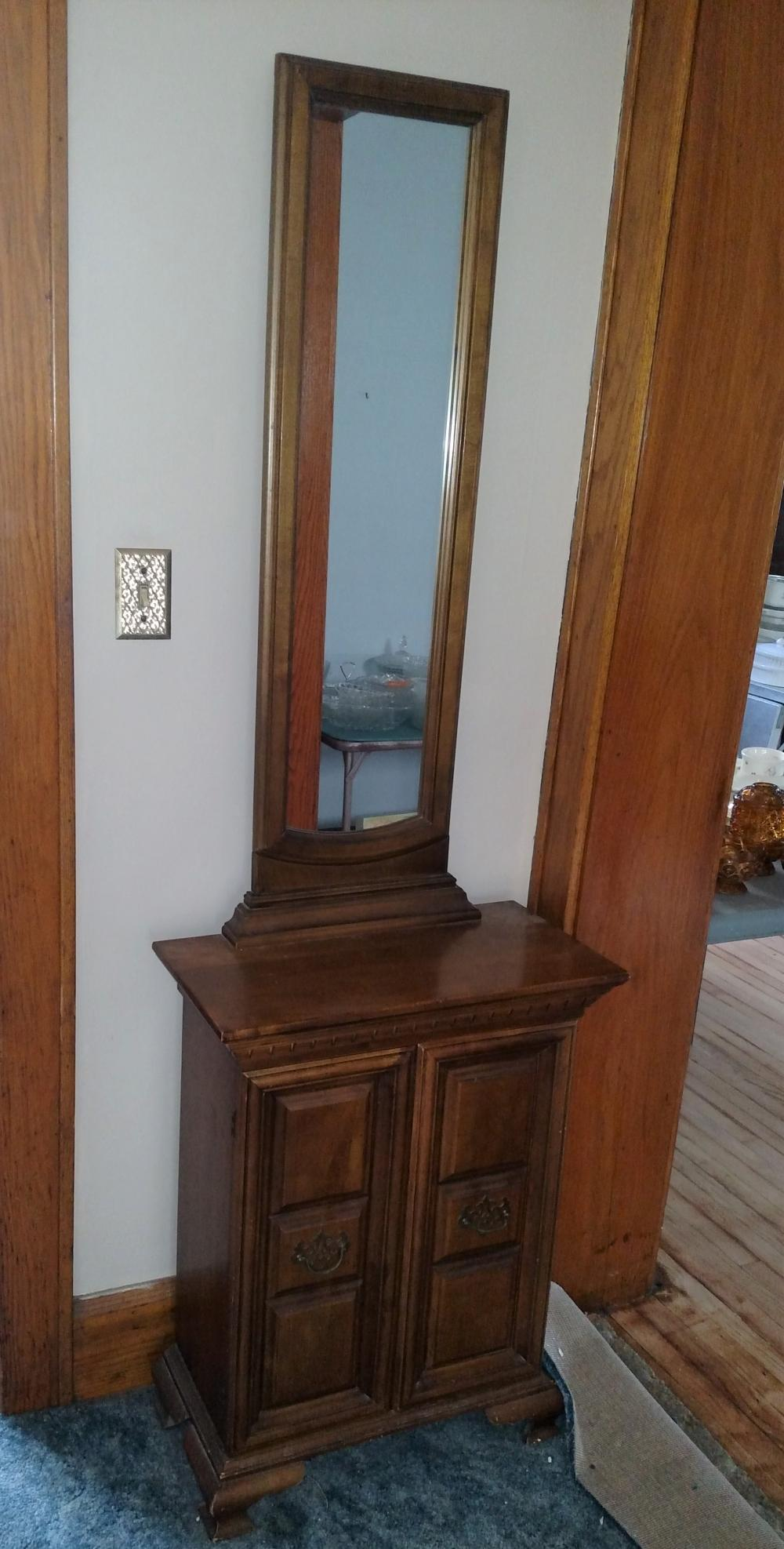 """hall stand with mirror-- 23"""" wide, 72"""" tall, 12"""" deep"""