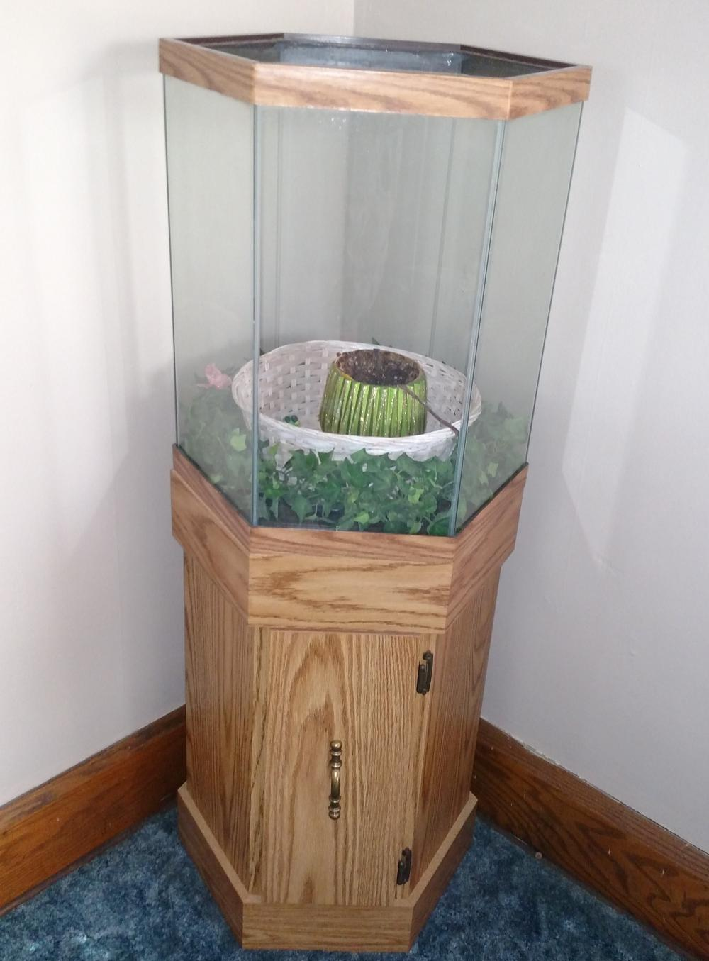 "aquarium on a stand-- 47"" tall, 17"" wide"