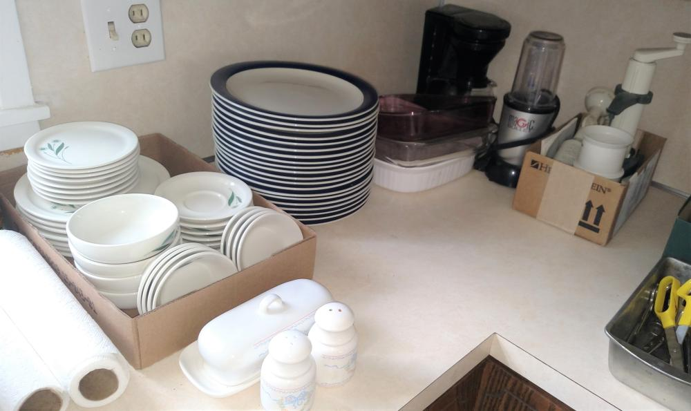 magic bullet mixer, gibson dishes, coffee maker