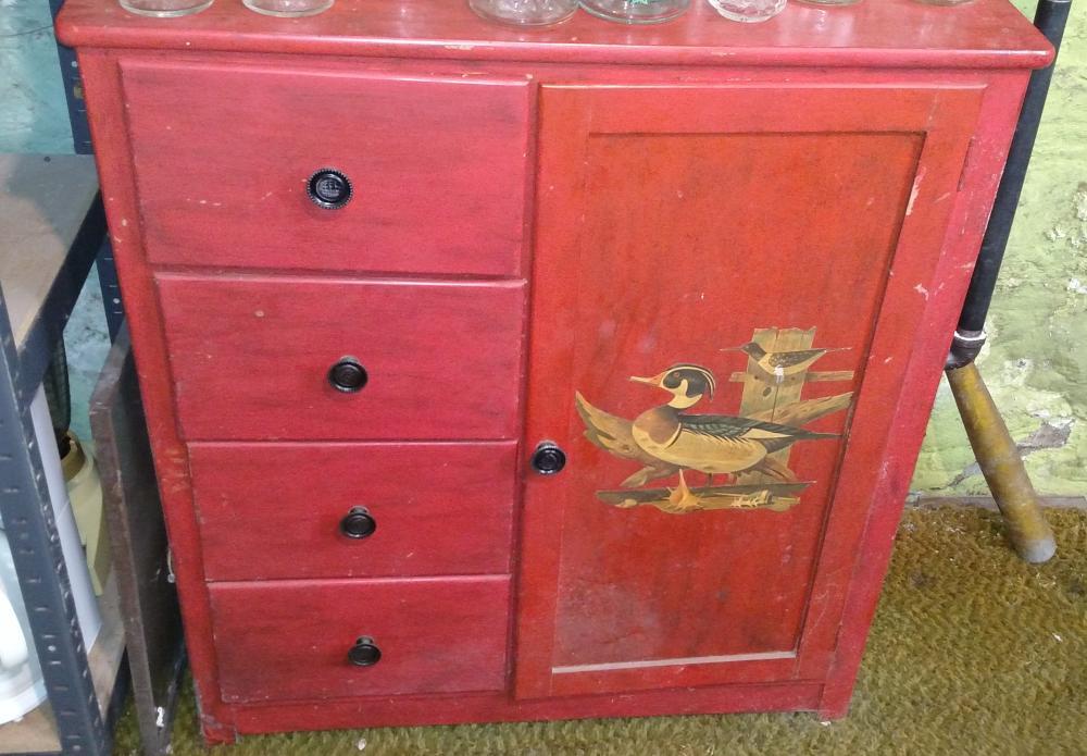 "4 drawer cabinet w/ door-- 3' tall, 32"" wide, 16"" deep"
