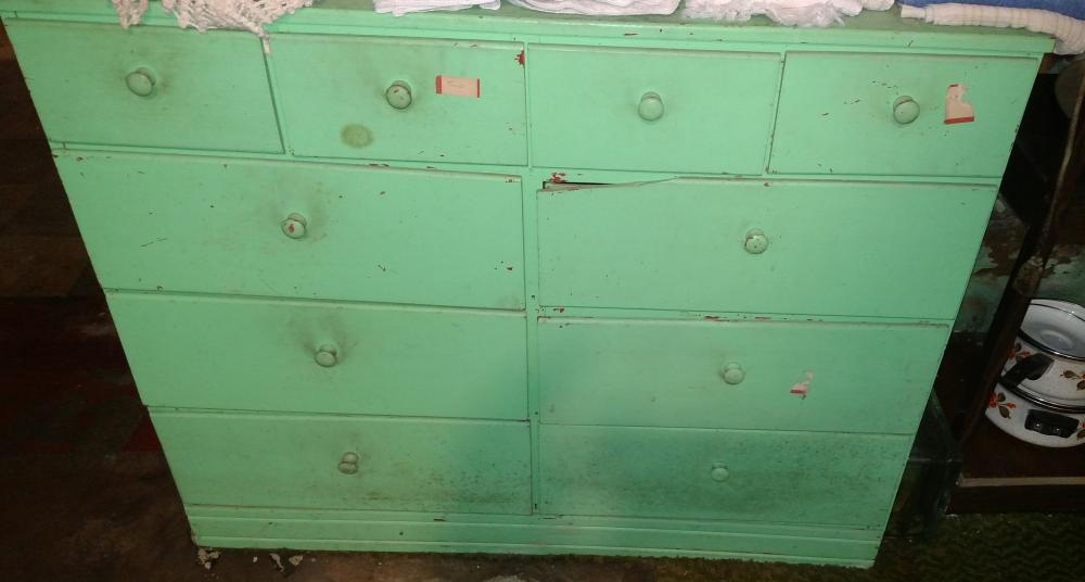 "green drawer unit - wood- 34"" tall, 42"" wide, 15"" deep"