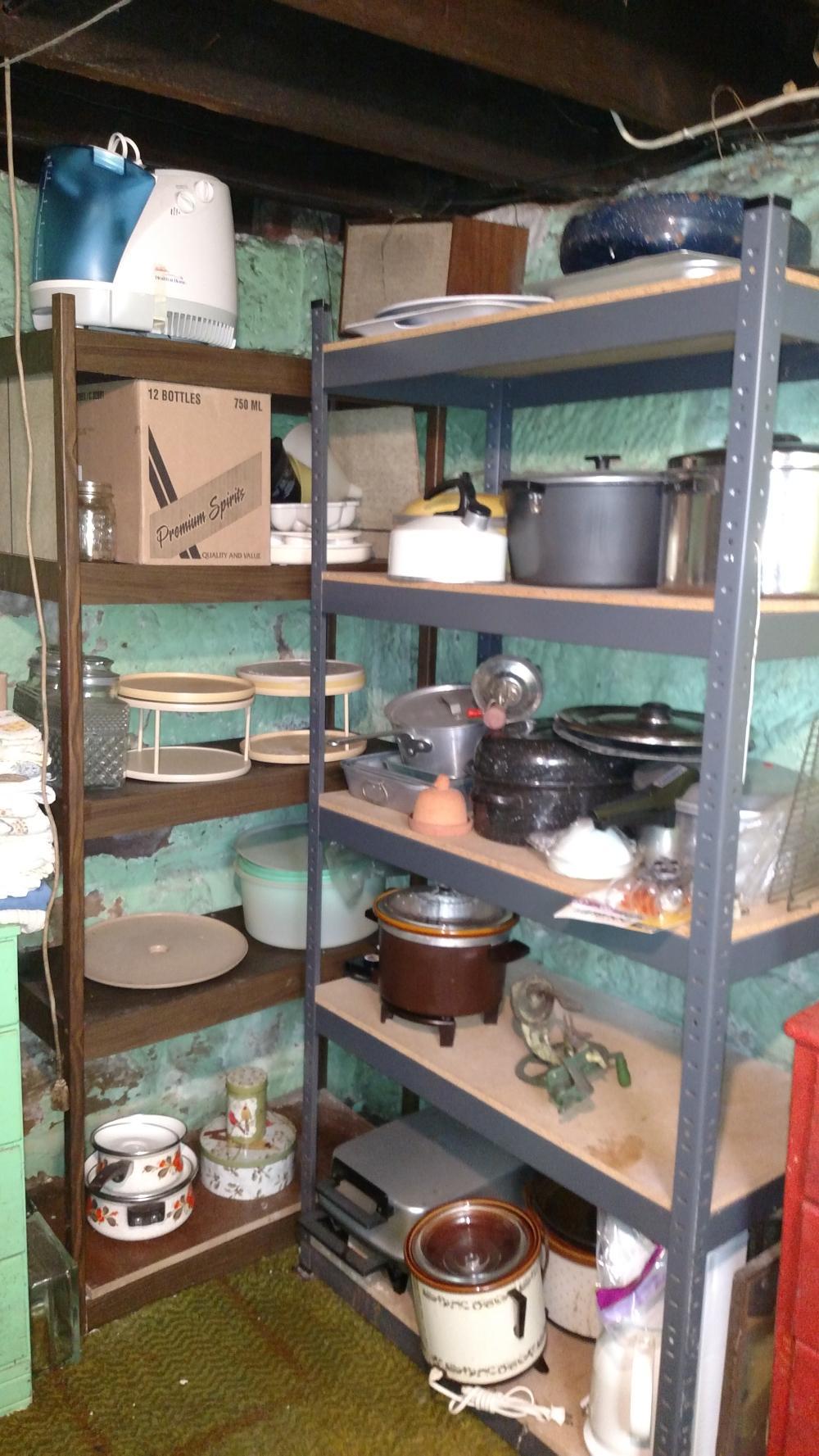 shelf contents,- contents only- apple peeler, crock pots, jars w/ glass lids, gevelia coffee maker, roaster, misc kithenwares