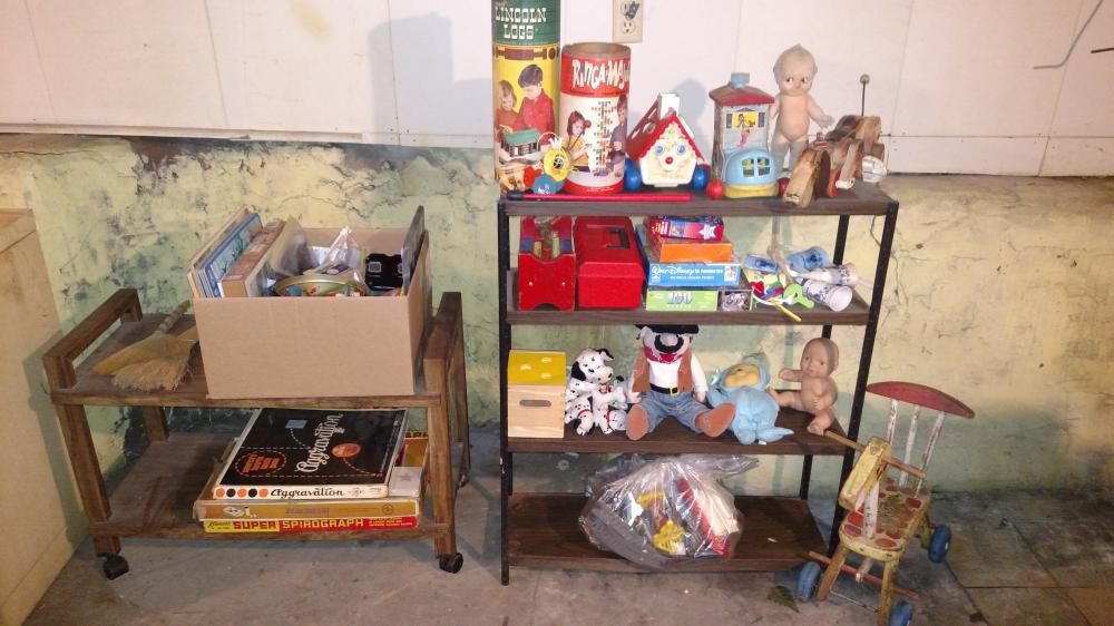 toy package-- lincoln logs, pull toys, fisher price items, viewmaster, dolls, w/ shelf