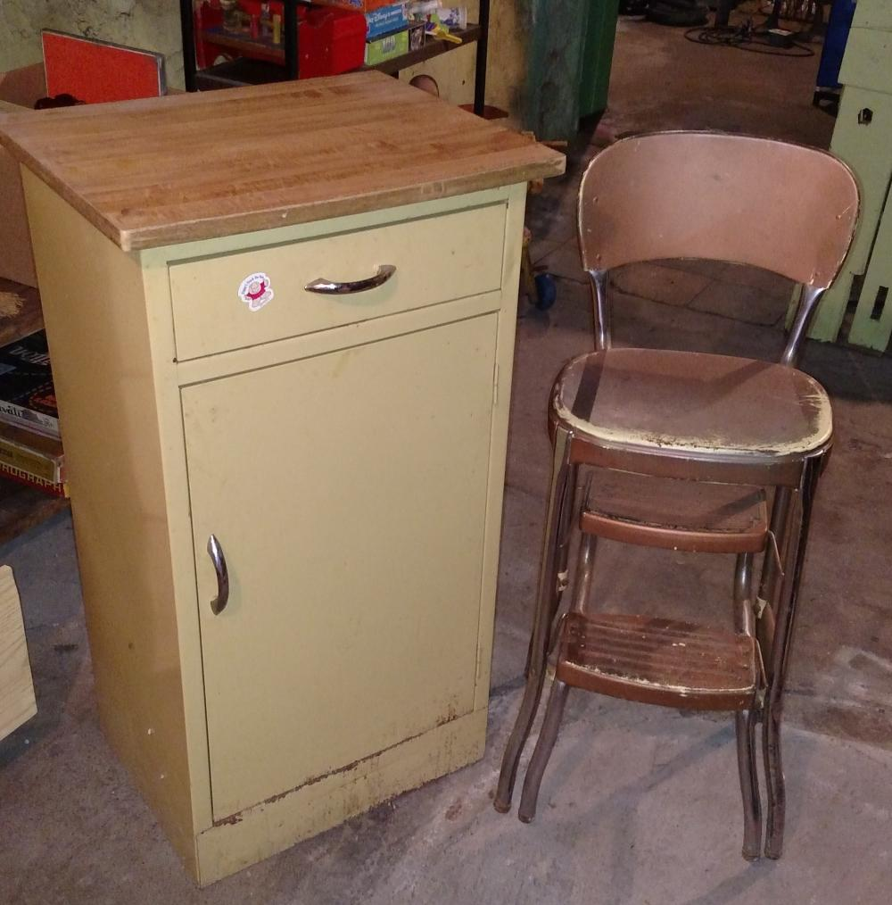 yellow metal cabinet and stylaire step stool- 3' tall