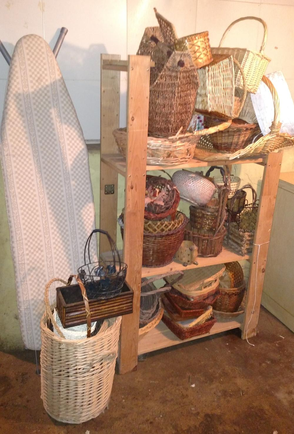 basket joblot with shelf and ironing board