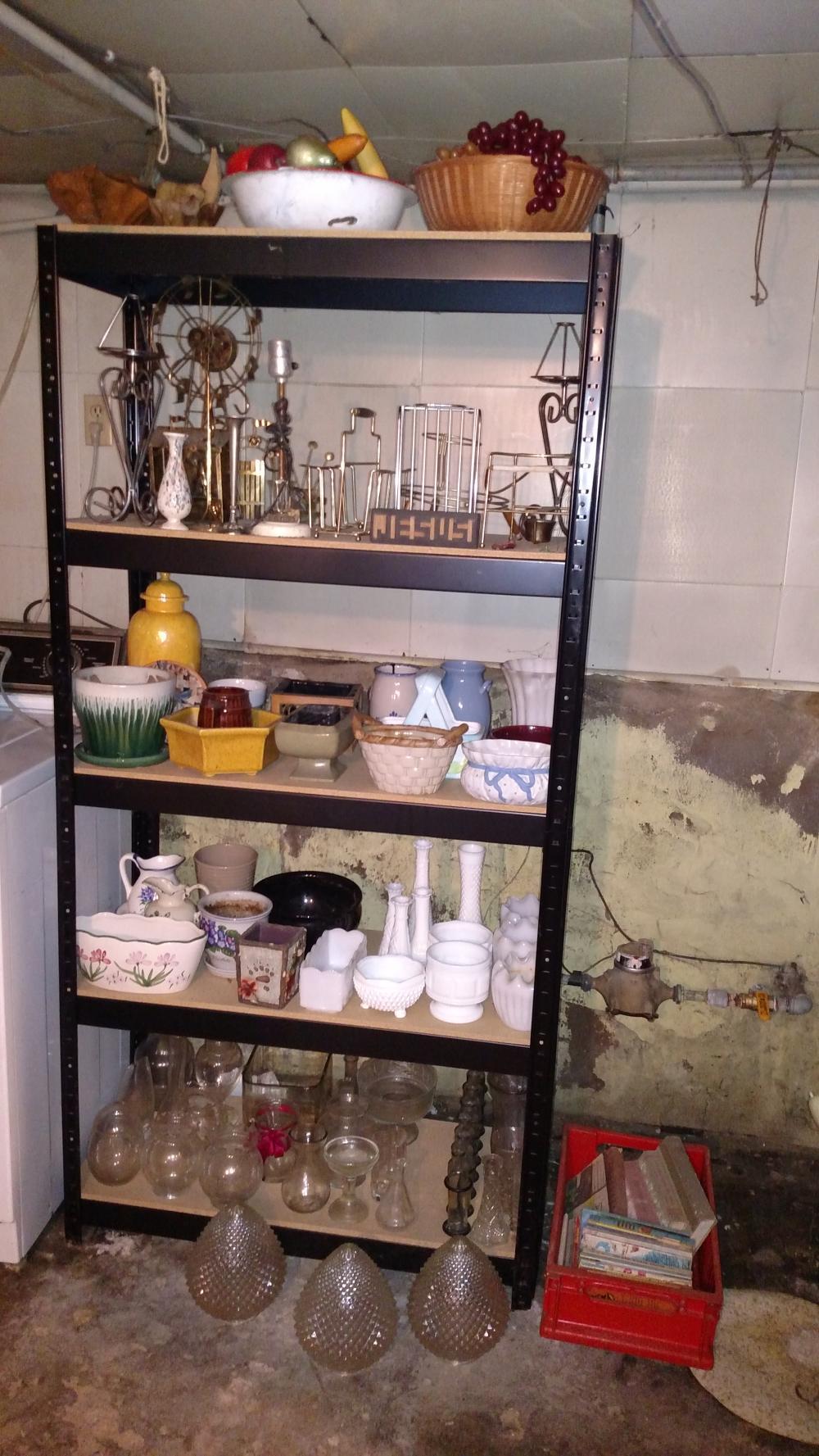metal shelf contents-- contents only-- enamel bowl, fake fruit, vases, planters, lamp, milkglass, misc glass