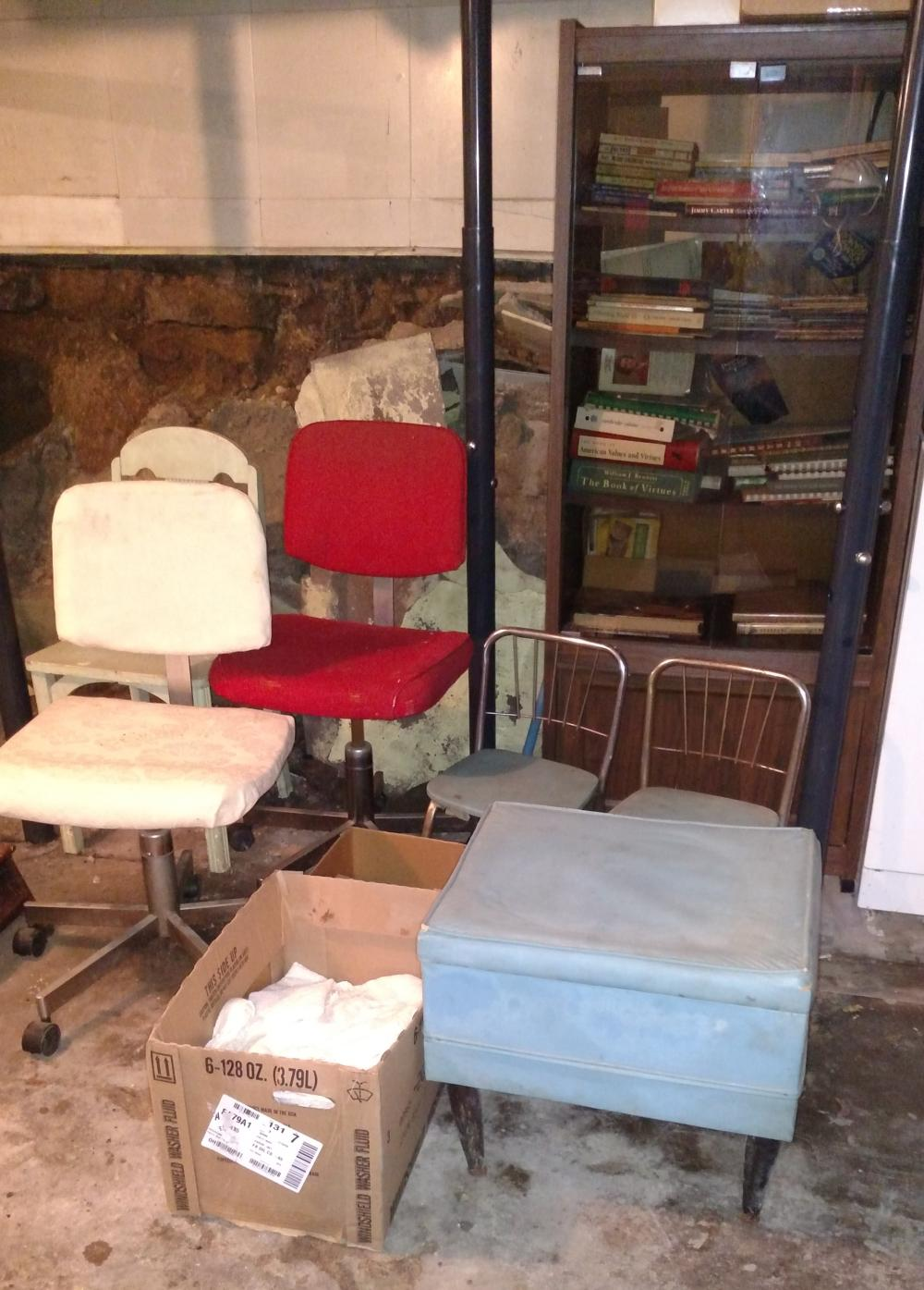 wood chair, rolling chair, youth metal chairs, media cabinet w/ books, hamper, lift top footstool-- a bit rough