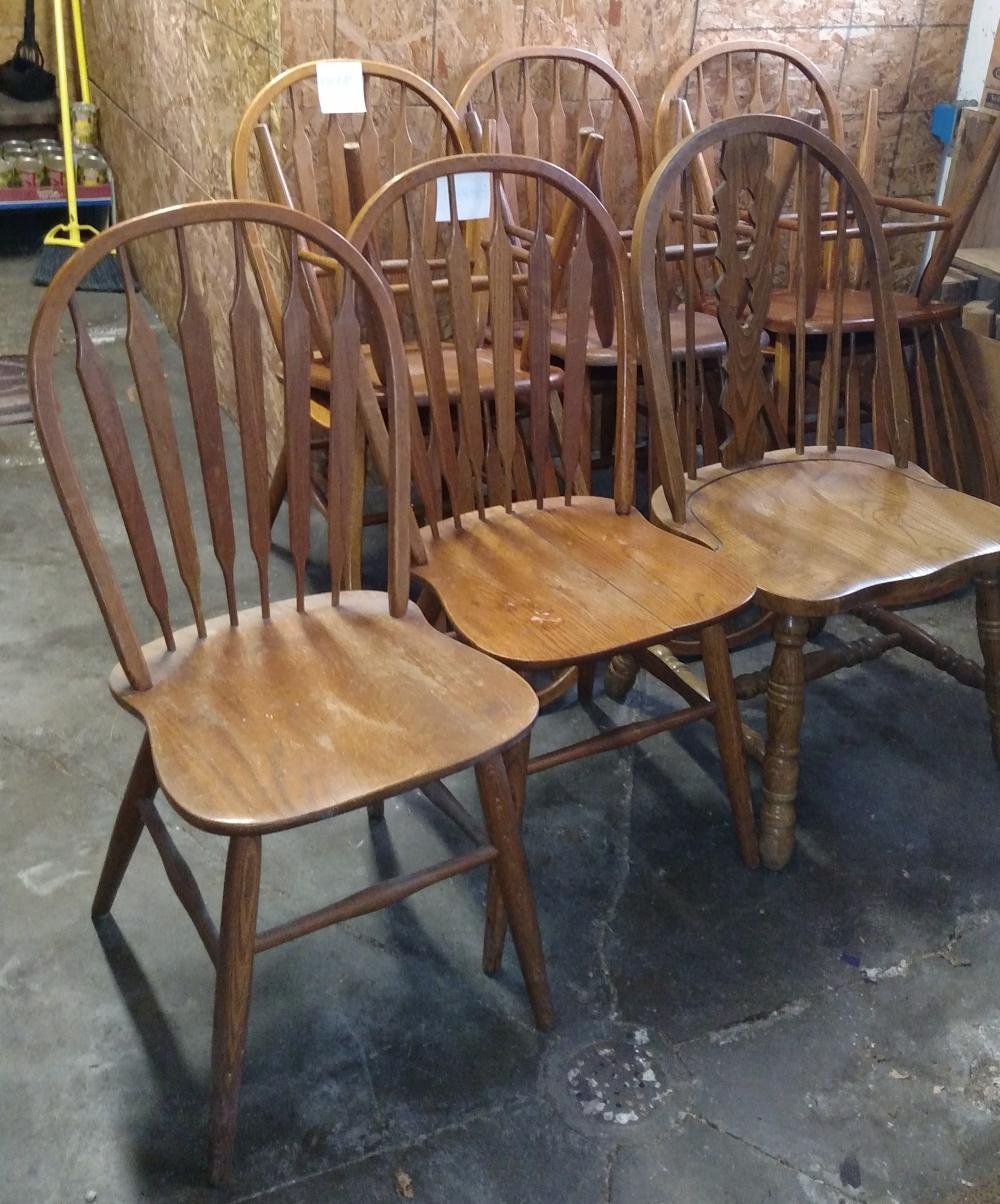 9 wood chairs (2 need repaired)