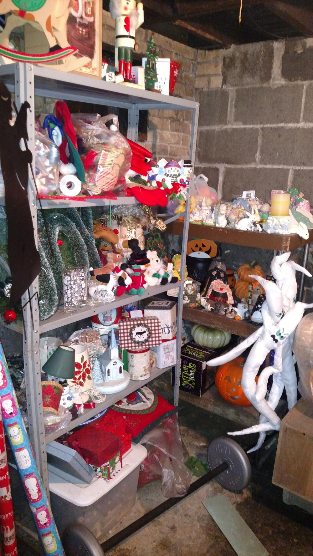 holiday room contents-- christmas, ghosts, bows, wrapping paper, totes, tins, bunnies, snow globes, merry joblot